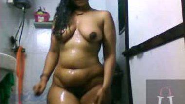 Horny South Indian showering and masturbating