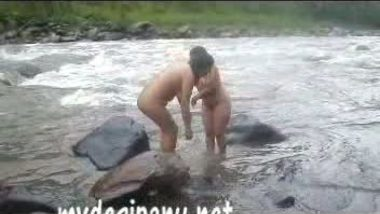 Two Indian porn stars – aunties bathing in river