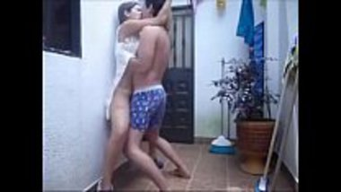 Desi college girl having a quick sex at her balcony
