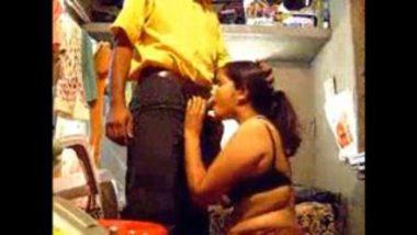 Hidden Cam Recorded Indian Aunty Blowjob