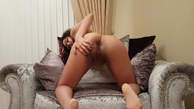 Sexy British babe gives explicit dirty talk JOI playing with shaved pussy