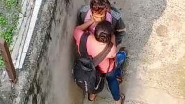 Desi student Outdoor romance