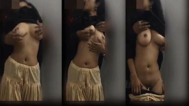 Booby Desi girl enjoying hot boob press from her boyfriend