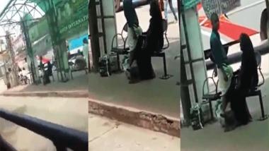Public Bus stand handjob sex of Muslim aunty to stranger