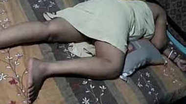 Sanjana aunty sleeping in petticoat after long fuck