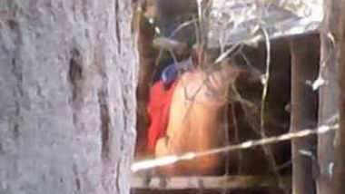 Bangladeshi girl pissing and bathing in outdoor caught by hidden cam