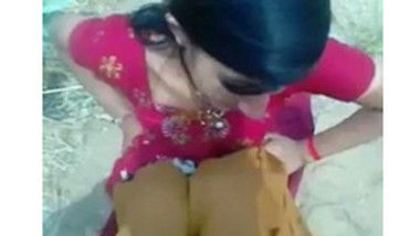 Indian village girl showing her boobs outdoor