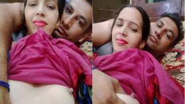Amateur porn video where boyfriend touches Desi MILF's nipples before sex