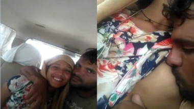 Bearded lad kisses Indian girlfriend's nipple in the backseat