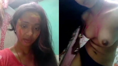 Indian girl exposes boobies and takes panties off in her room in homemade porn
