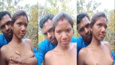 Tribal village wife boob press outdoor sex MMS