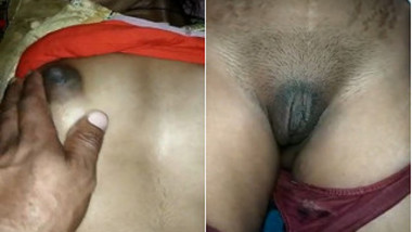 Woman's nipples are hard and Desi hubby understands that she is horny